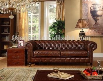热卖古董飞行真皮切斯特菲尔德老式沙发