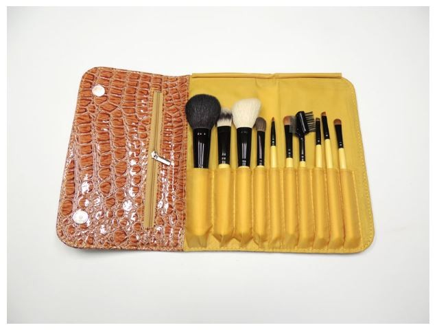 10 Pcs Makeup Brush Set with High Quality PU Bag