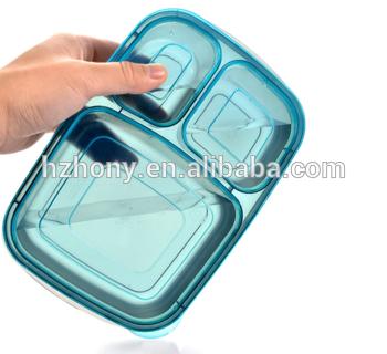 7包色餐3车厢部分控制塑料午餐便当盒中的食品容器和1个免费的冰包—