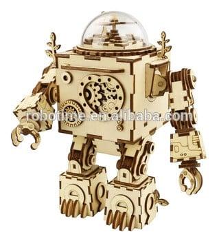 机器人模型木制音乐盒DIY手工奥菲斯的孩子的礼物