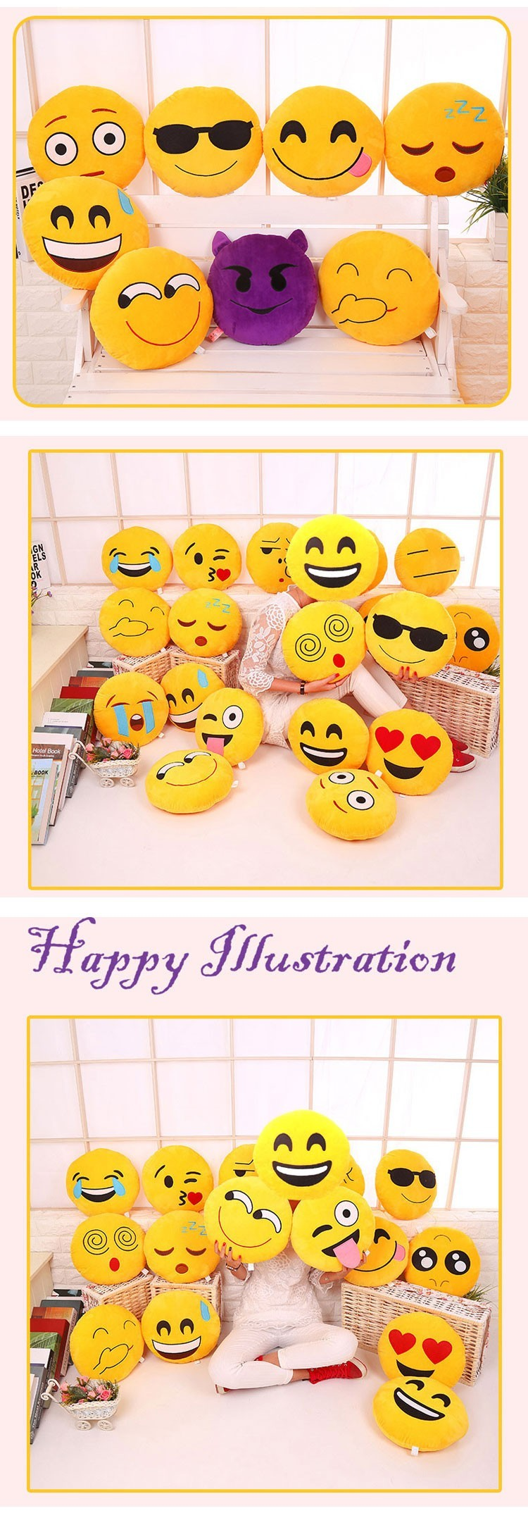 Smile Pillow Factory,pillow Emoji Stuffed Toys Plush Stuffed