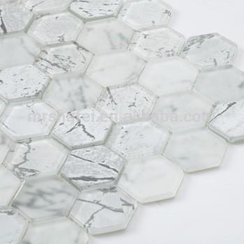 白色六角水晶玻璃马赛克