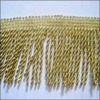 厂家销售家纺花边窗帘配件7厘米黄金涤纶流苏