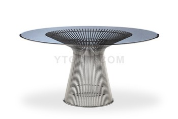 Tempered glass Table round dinner table classic furniture Warren