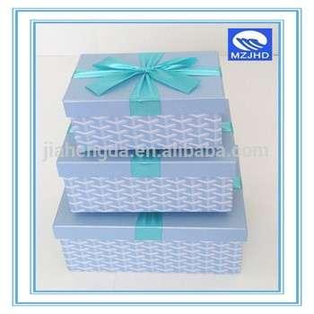 3方形蓝色专用纸结婚礼盒带丝带