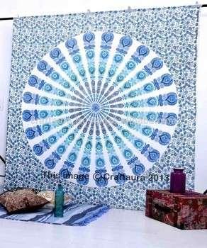 印度曼陀罗把挂毯壁挂女王全棉印花床罩白色床罩批发挂毯