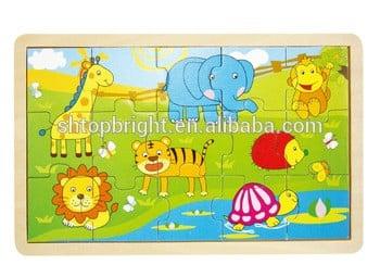 6个人音乐拼图孩子玩具木制动物声音拼图红色按钮声音木制声音玩具小教育音乐拼图