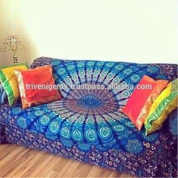 蓝色曼陀罗印度批发织锦壁挂100%棉床罩/沙发印度印曼荼罗把挂毯