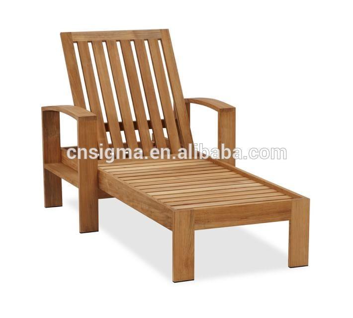 adjustable teak wood beach lounge chair garden wooden sun lounger
