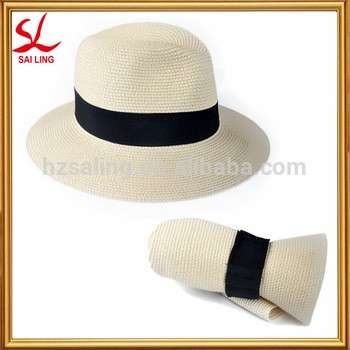 e8d08650d31 Fashion Men Women Foldable Straw Hat Fedora Panama Style Packable Travel  Sun Hat