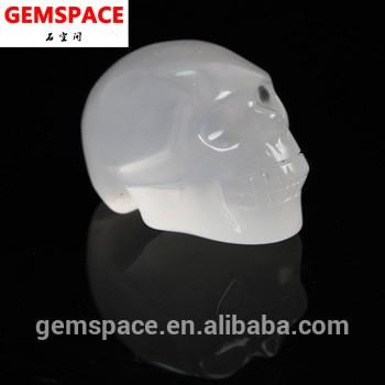 天然手工雕刻白色水晶头骨工厂批发