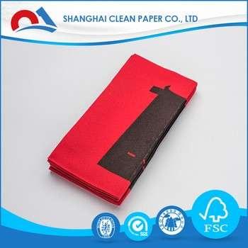 中国企业中国红餐巾