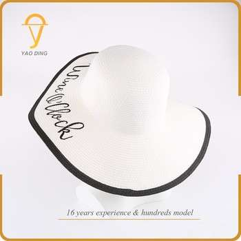 66367732bca2d China Wholesale Cheap Price Fashion Man Lady Paper Straw Custom Embroidery  Floppy Hats For Women