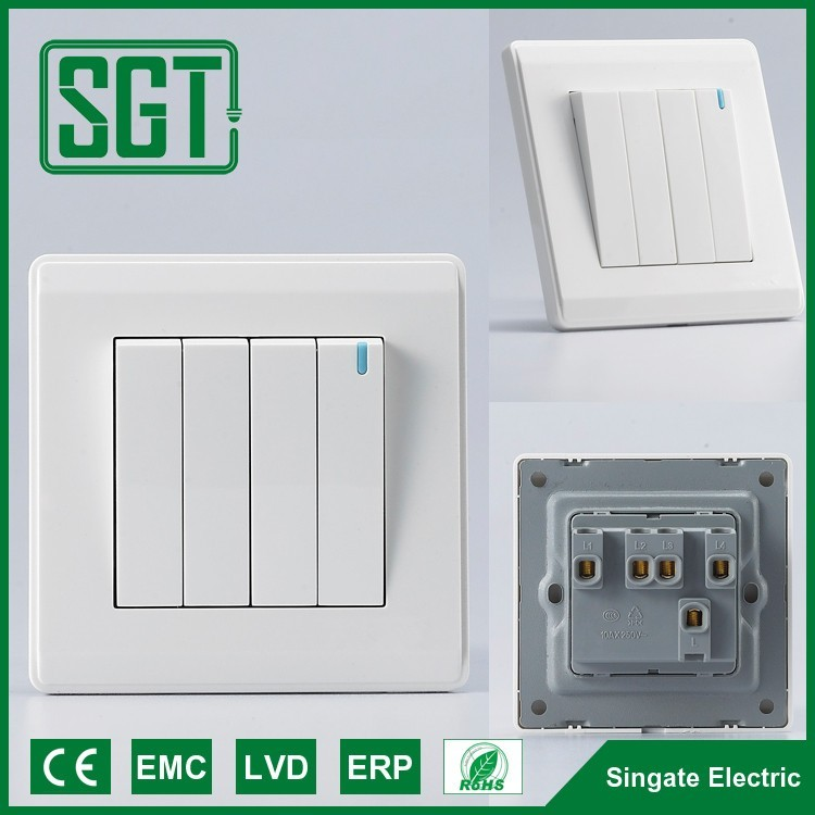 Wall Switches Electric Four Gang One Way Two Way Switch