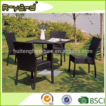 Outdoor garden poly rattan stackable cafe chairs restaurant furniture with central leg table