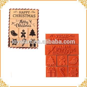 优质2圣诞格言和6个经典形状圣诞橡胶木邮票集