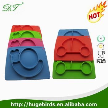 100%食品级定制硅胶婴儿餐垫,硅胶餐垫和孩子碗里,孩子们的硅胶餐垫