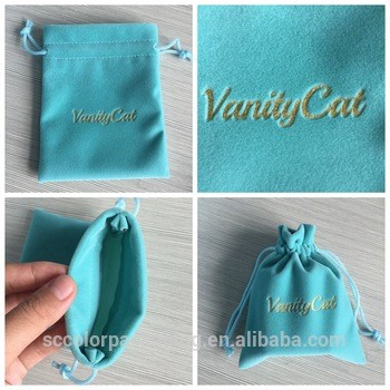 价值蓝色,首饰包装袋作为礼品袋,定制大小天鹅绒首饰袋