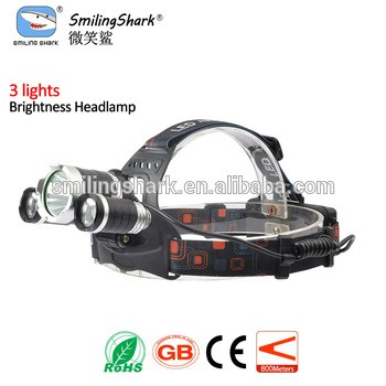 Smiling Shark 3 lights headlamp with CE certificate rechargeable Led headlight