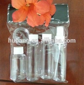 60ml批发透明PET塑料瓶螺旋瓶盖喷雾和10ml PS塑料瓶5pcs旅行瓶盒