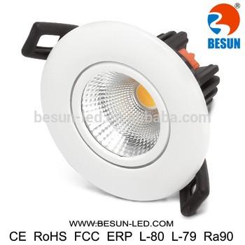 太阳的专利5年保修7w闪烁自由防火调凹COB LED筒灯LED筒灯