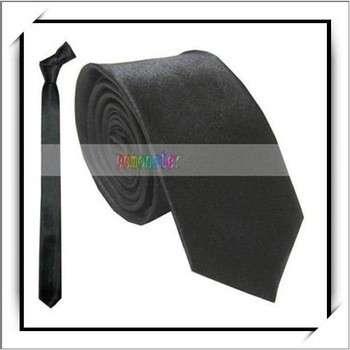 Wholesale! Black Polyester Narrow Neck Ties For Men