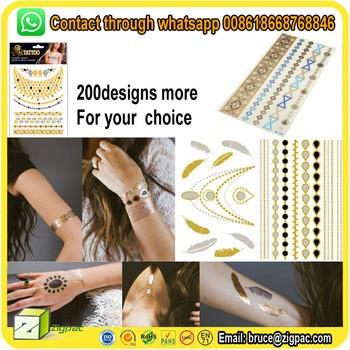 280特殊设计的金属金手镯闪闪性感裸女人体皮肤安全临时纹身贴纸的手