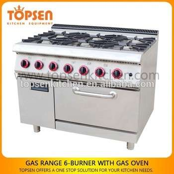 Industrial Kitchen Gas Range Oven, 6 Burners Gas Cooker With Oven ...
