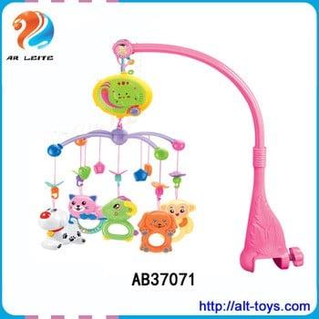 七彩动物形床铃音乐旋转挂玩具塑料婴儿移动衣架