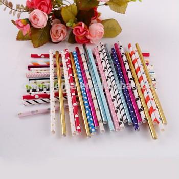 Eco-friendly Striped Pattern Drinking Paper Straws