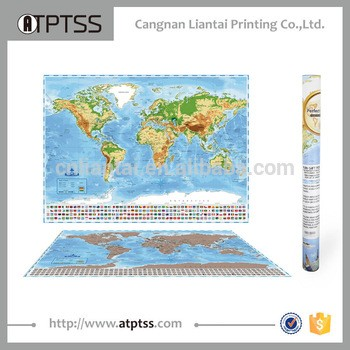 2017新风格个性化刮地图世界海报与专利