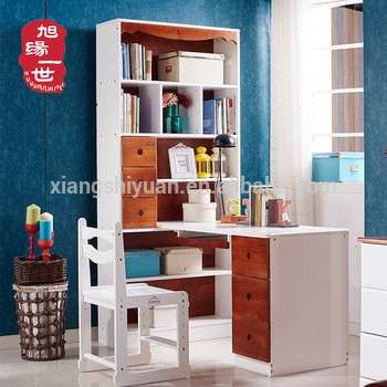 Kids Furniture Type Children Wooden Bookshelf With Computer Desk