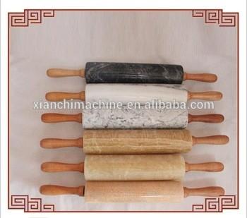 汉白玉木擀木柄大理石切纹板