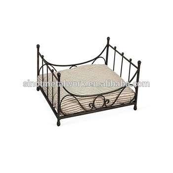 仿古宠物配件黑色铁艺狗床与滴答垫豪华金属框架狗床
