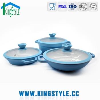 商用厨房设备的不粘锅,3pcs压铝炊具