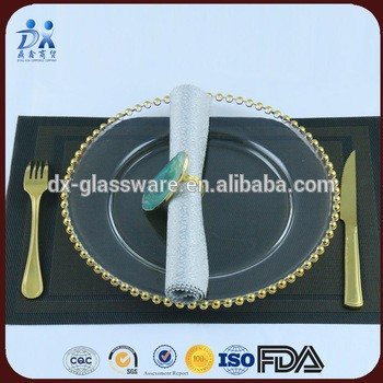 2017 new designed Gold Beaded glass charger plates With Gold And Silver RIM