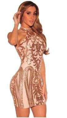 粉红旧货服装sequins打印俱乐部