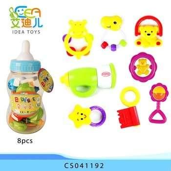 热销塑料迷你快乐岩钟8pcs摇铃婴儿玩具