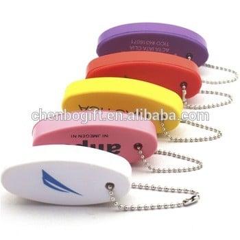定制椭圆形PU泡沫浮钥匙链,软塑料泡沫浮钥匙环