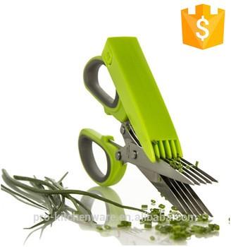 多功能厨房草本剪刀剪刀蔬菜切割不锈钢5刀片药草剪刀