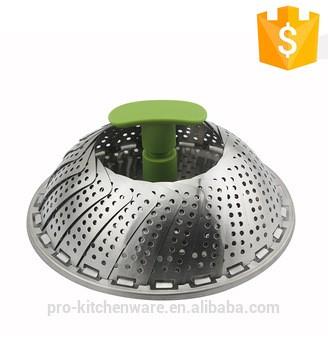 热售100% FDA LFGB中国水果船大型商业折叠蔬菜蒸笼不锈钢蒸笼