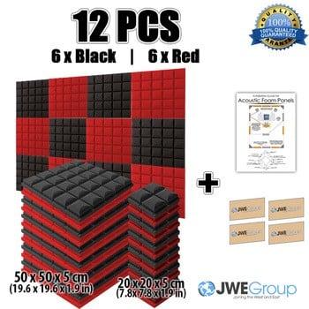 新的12pcs黑色和红色束半球网格型吸声板吸声隔音泡沫50x50x5cm 7色kk1040