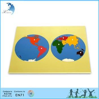 儿童教育蒙台梭利材料拼图木世界划痕地图