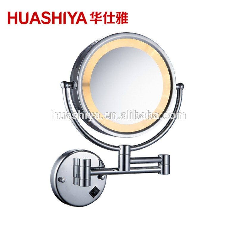 Hsy1005 Swivel Silver Wall Mounted Bathroom 3x Magnifying Led Makeup Mirror