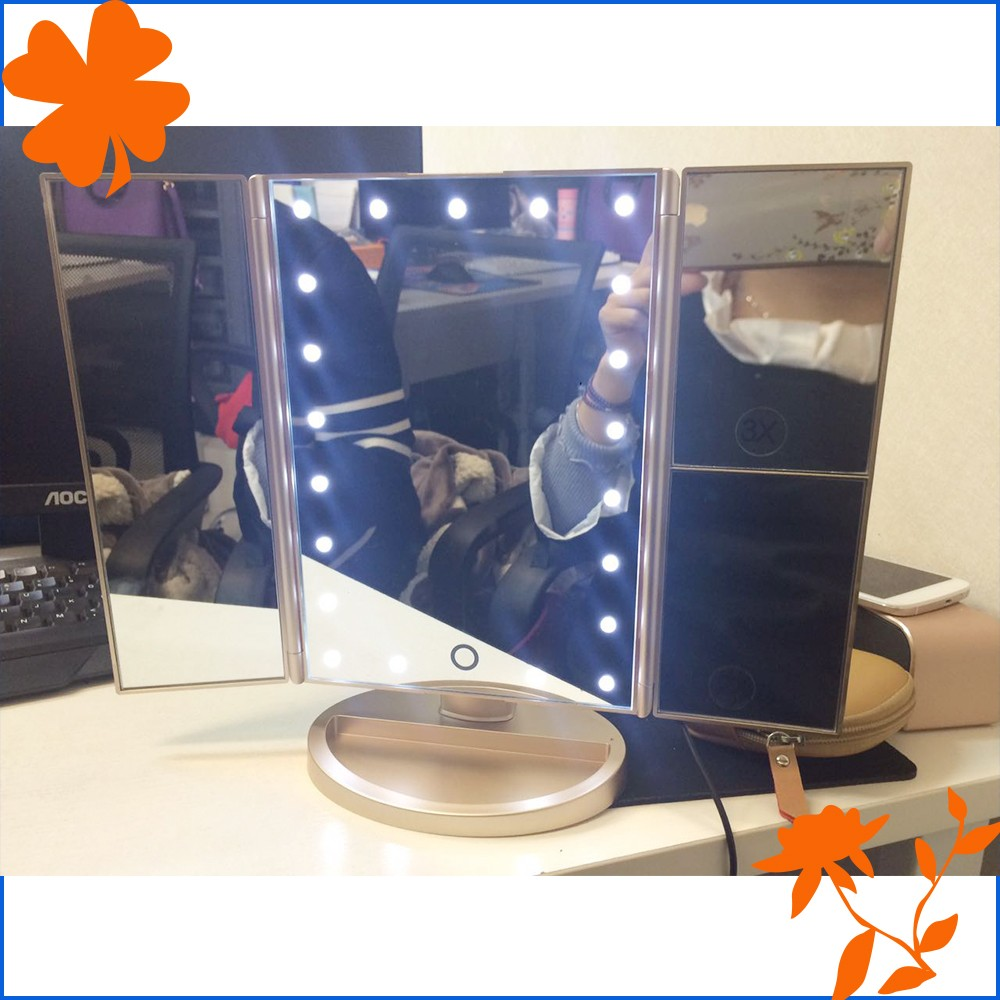 Tri Fold Lighted Vanity Mirror Three Panel Led Lighted 180 Degree