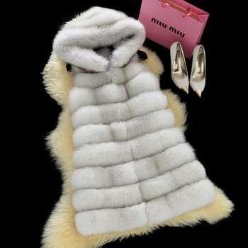 Real Fur Vest For Women's Hooded Coat Genuine Fox Furs Vests Woman Natural Fur Waistcoat Plus Size Jacket