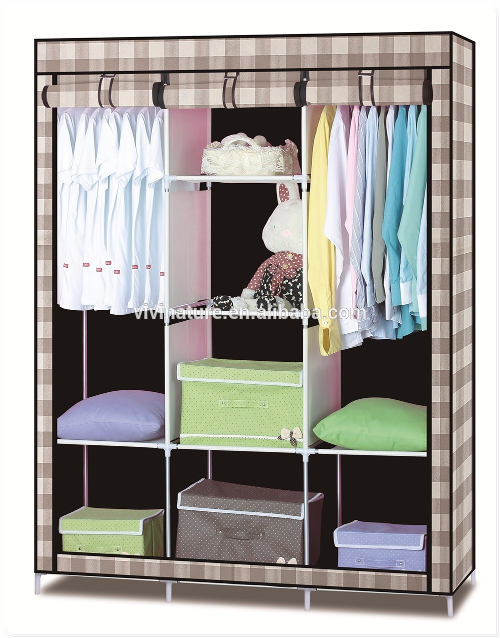 New Design Canvas Wardrobe Useful Clothes Storage Cabinet Wardrobe House Easy Taking Wardrobe