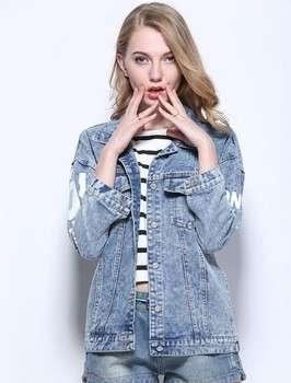 Long sleeve jeans coat fashion women loose denim coat blue jean jacket
