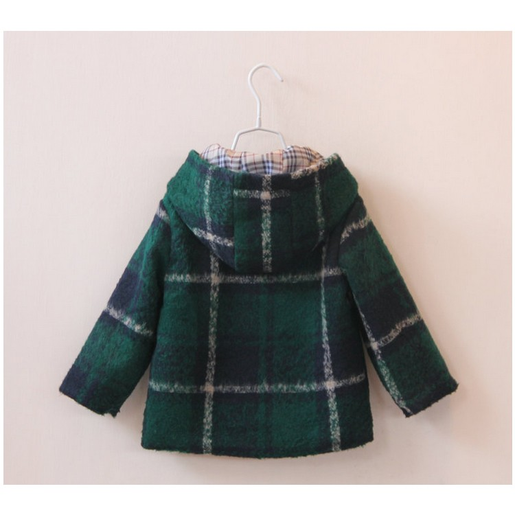 2017 new kids apparel green grid childrens wool coat