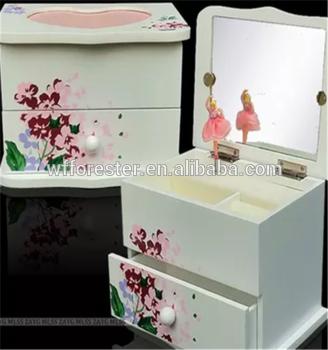 批发高品质多功能木制芭蕾音乐盒首饰盒
